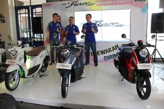 Management PT Yamaha Indonesia Motor Manufacturing (YIMM) dalam peluncuran New Fino 125 Blue Core ban lebar dan tubeless